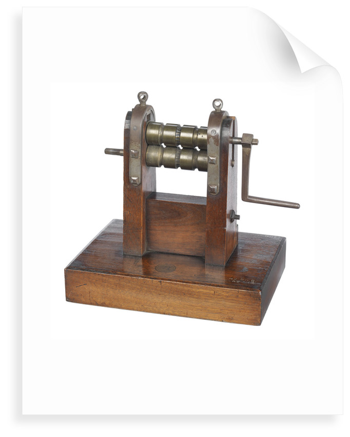 Metal bar rolling and branding machine by unknown