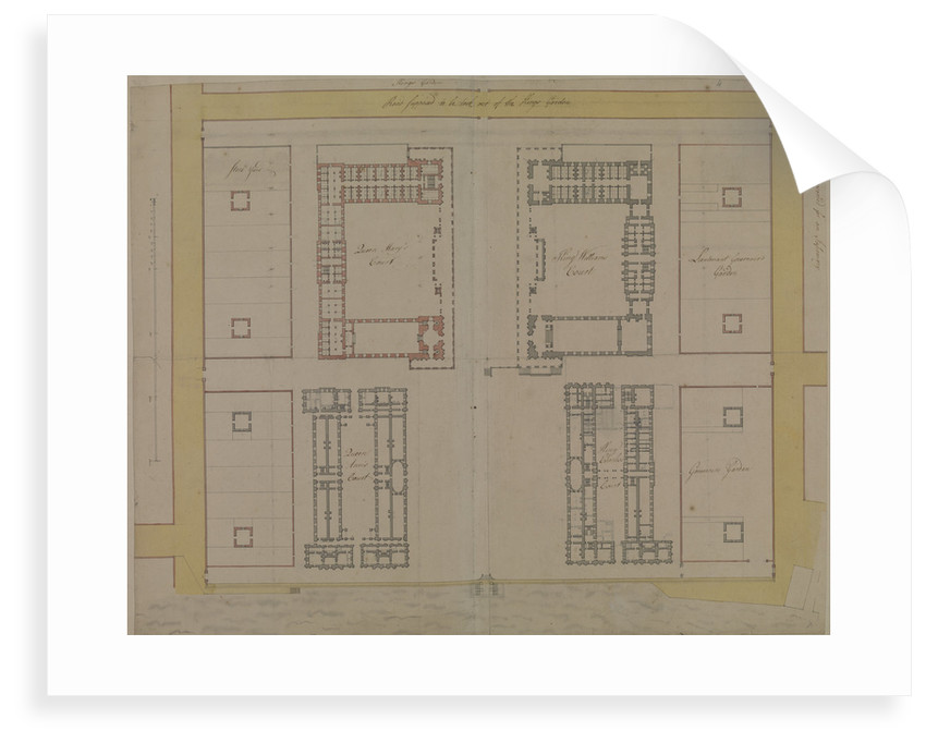 Thomas Ripley's plan of Queen Mary Block, Greenwich Hospital by Thomas Ripley