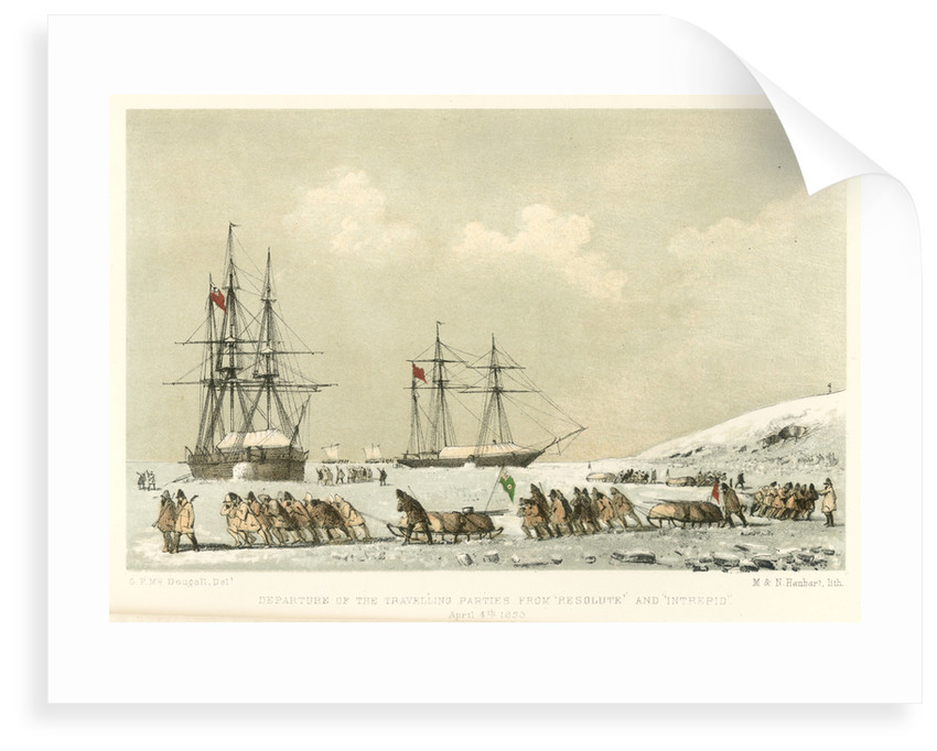 Departure of the travelling parties from 'Resolute' and 'Intrepid', 4 April 1853 by unknown
