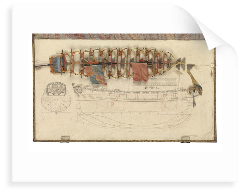 Folding model and plan of the 'Gurland' (1721) by unknown