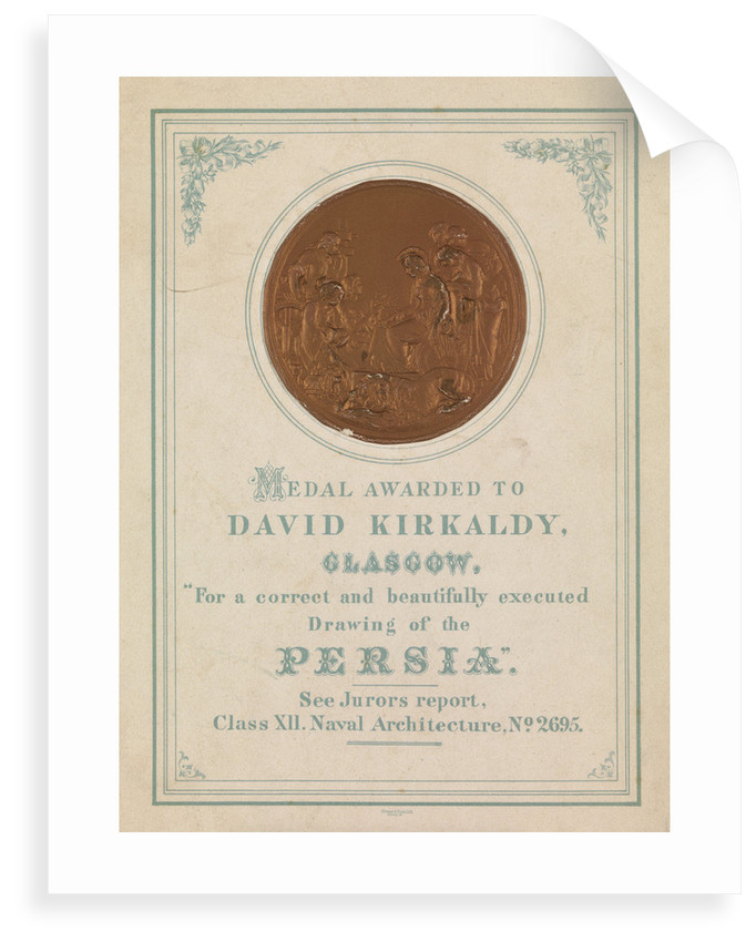 Medal awarded to David Kirkaldy, Glasgow.  For a correct and beautifully executed drawing of the Persia by unknown