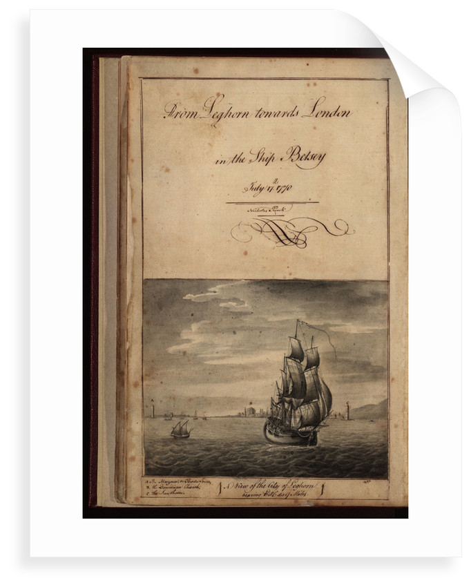 Frontispiece of 'From Leghorn towards London in the ship 'Betsey'' by Nicholas Pocock, 1770 by unknown
