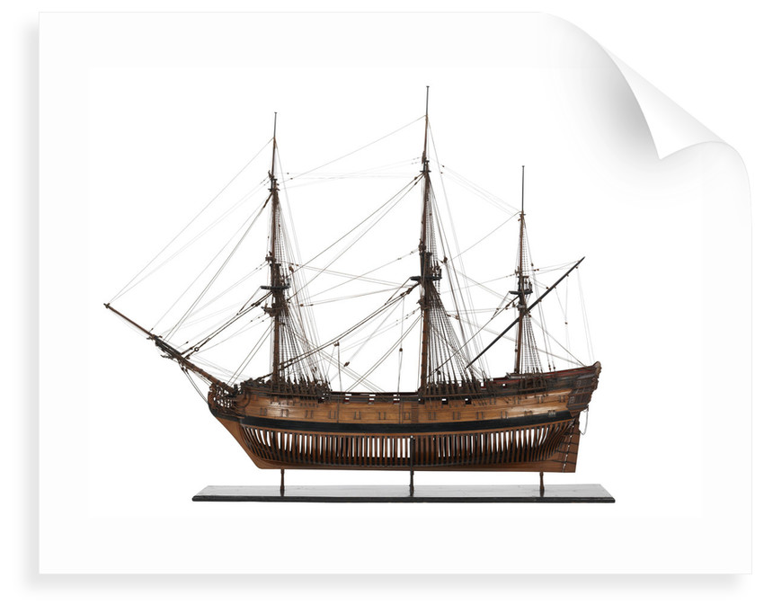 A contemporary full hull model of a 64-gun two-decker ship of the line (circa 1775) by unknown