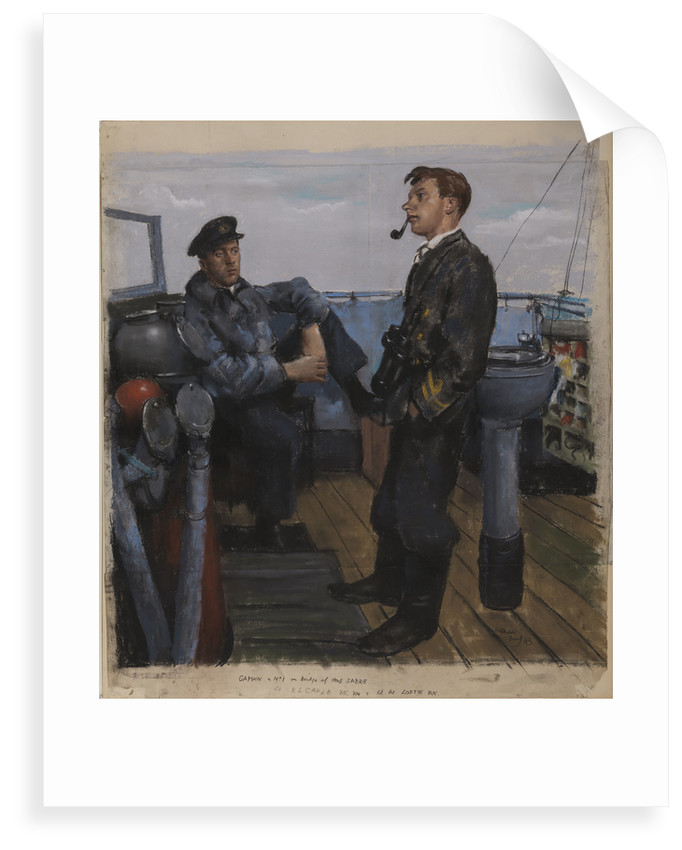 Captain and No 1 on Bridge of the 'Sabre' by William Dennis Dring