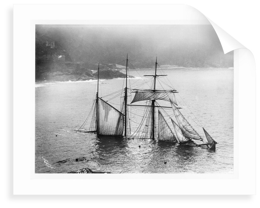 Photograph of Mildred (1889) wrecked off Gurnard's Head, Cornwall, 1912 from the Gibson collection by Gibson's of Scilly Shipwreck Collection
