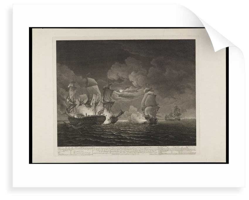 A memorable engagement of Captain Pearson of the 'Serapis' with Paul Jones of the 'Bonhomme Richard' & his squadron, September 23 1779 by James Fittler