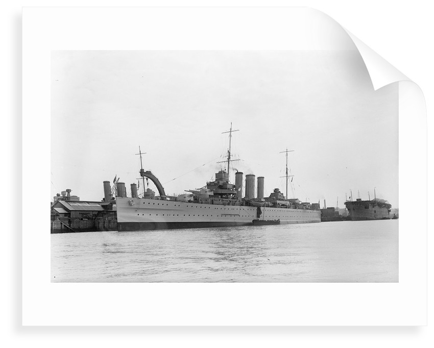 Heavy cruiser HMS 'Berwick' (1926) at anchor by unknown