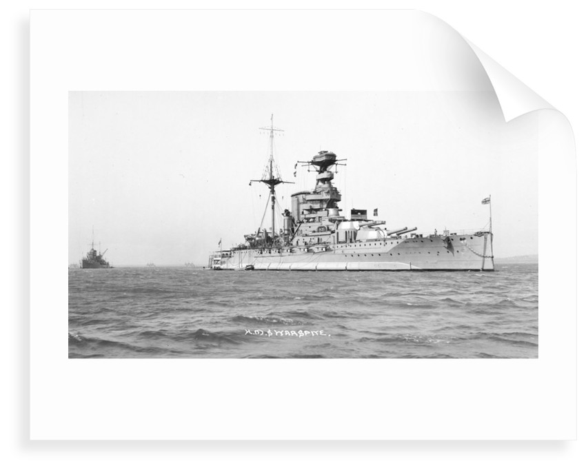 Battleship HMS 'Warspite' (1913) at anchor by unknown
