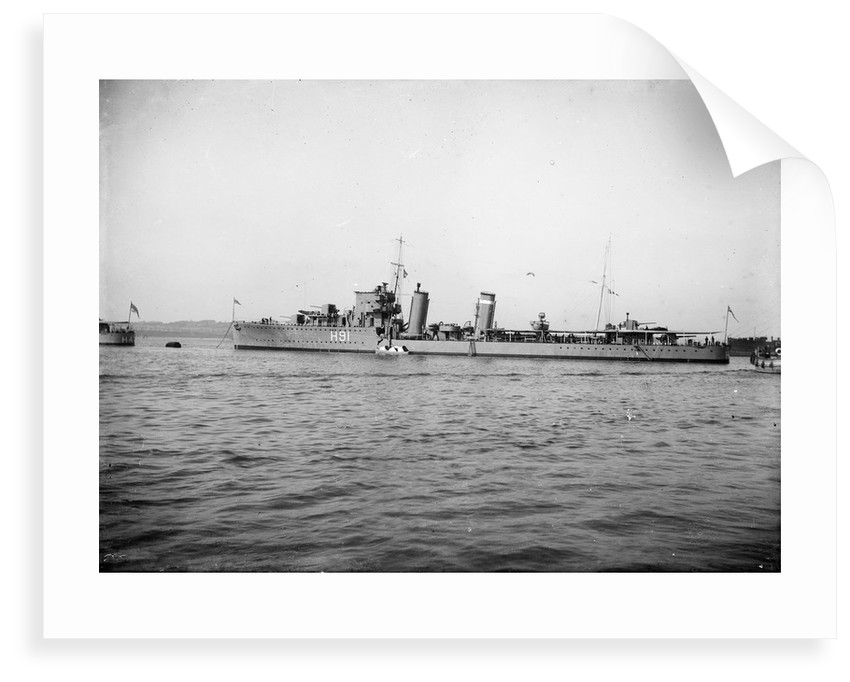 Destroyer HMS 'Bulldog' (1930) anchored at Portland with awning rigged aft by unknown