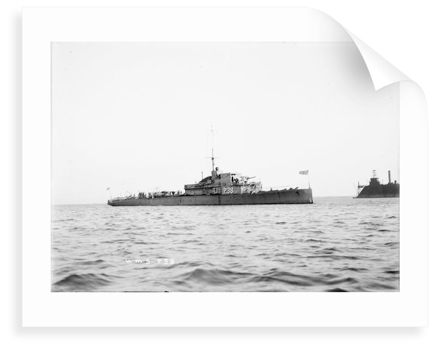 Photograph of patrol boat 'P38' (1917) at anchor at Portland 1920-1924 by unknown