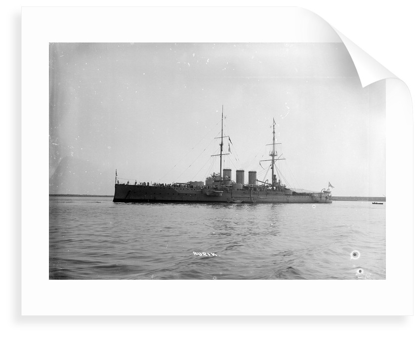 Armoured cruiser 'Rurik' (Ru, 1906) at anchor at Portland with awning rigged aft by unknown