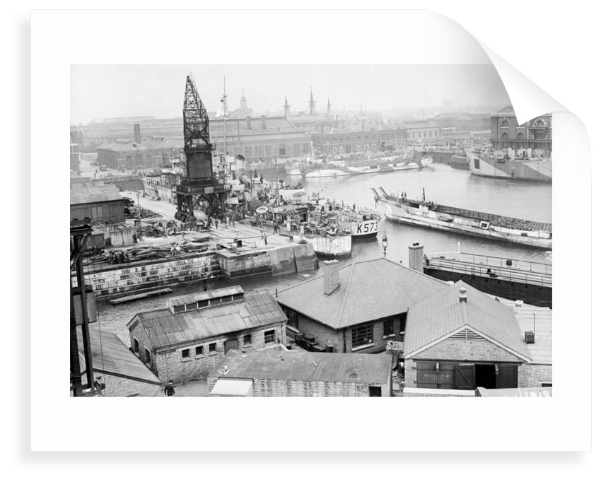 Portsmouth, Hampshire on 26th May 1944, looking south west across No.2 Basin in the dockyard by unknown