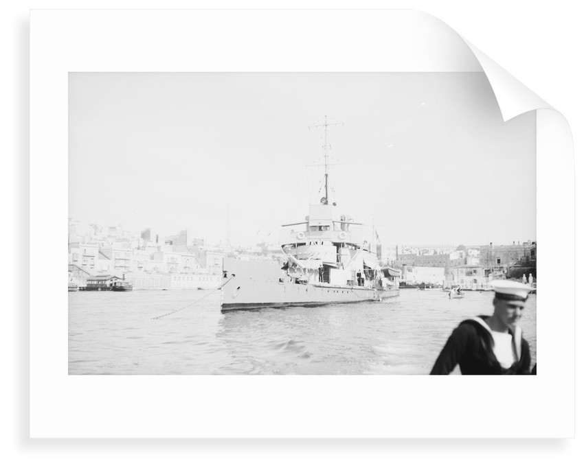 'Aphis' (1915) anchored in Grand Harbour, Malta, near St. Angelo by unknown