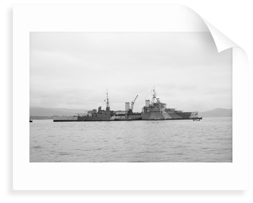 HMS 'Bermuda' (1941) at anchor in the Clyde, preparing for refit by unknown