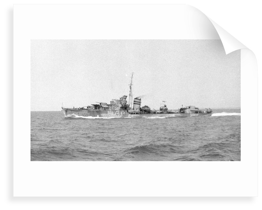 HMS 'Janus' (Br, 1938), under way at speed off Alexandria, passing HMS 'Phoebe' (Br, 1939), 12 May 1941 by unknown