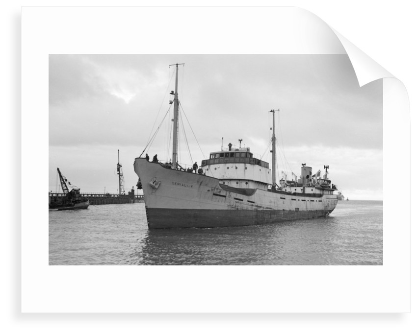 Photograph of general cargo vessel 'Seriality' (1952) under way at Swansea, bound in. December 1958 by unknown