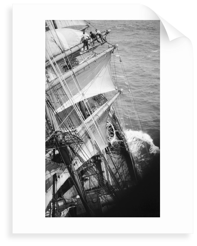 Changing the upper topgallant and royal sail on the main mast by Alan Villiers