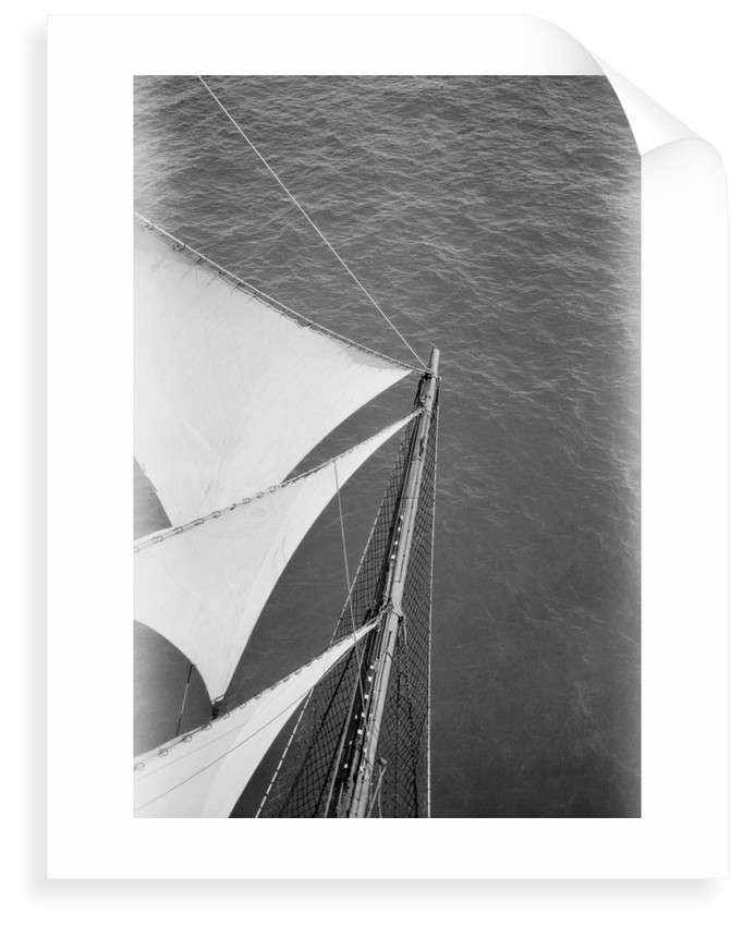 Looking down onto the bowsprit aloft on the foremasts by Alan Villiers