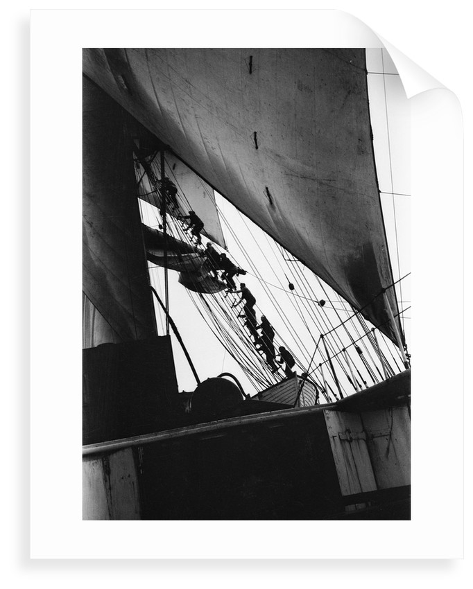 Going aloft, climbing the starboard fore shrouds by Alan Villiers