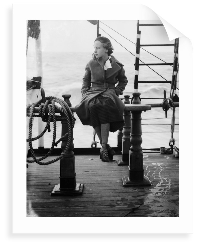 Elisabeth Jacobsenin shore clothes seated on the poop rail, aboard 4 masted barque 'Parma' (Fi, 1902), ex 'Arrow' (Ruben de Cloux) by Alan Villiers