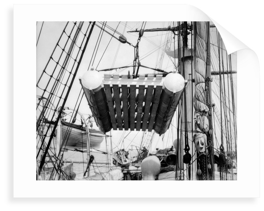 The life raft from 'Elingamite' (1887) being hoisted off the upper deck of HMS 'Penguin' (1876) by Willoughby Pudsey Dawson