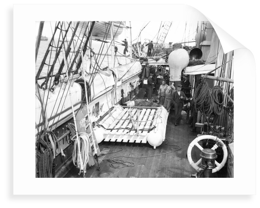 The life raft from 'Elingamite' (1887) on the upper deck of HMS 'Penguin' (1876) by Willoughby Pudsey Dawson