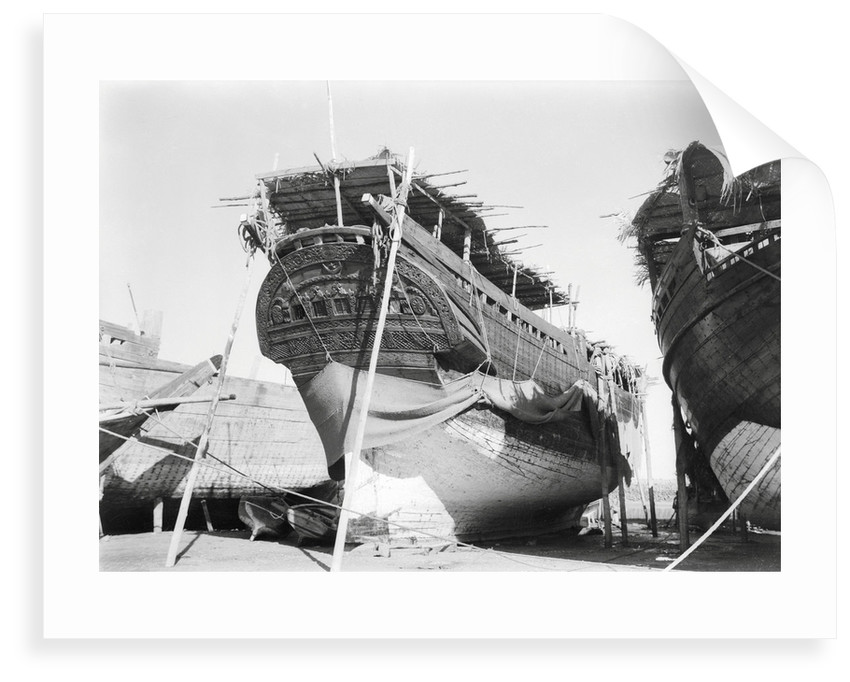 Stern quarter view of a fine baggala drawn up on the Kuwait waterfront by Alan Villiers