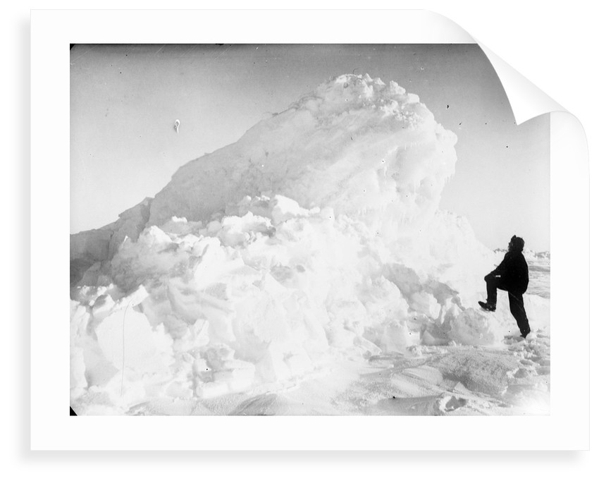 Captain Worsley standing by a large pressure ridge, Weddell Sea, Antarctica by unknown