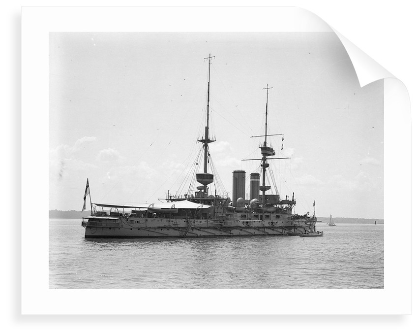HMS 'Implacable' (1899) at anchor at Spithead, with awning rigged aft by unknown