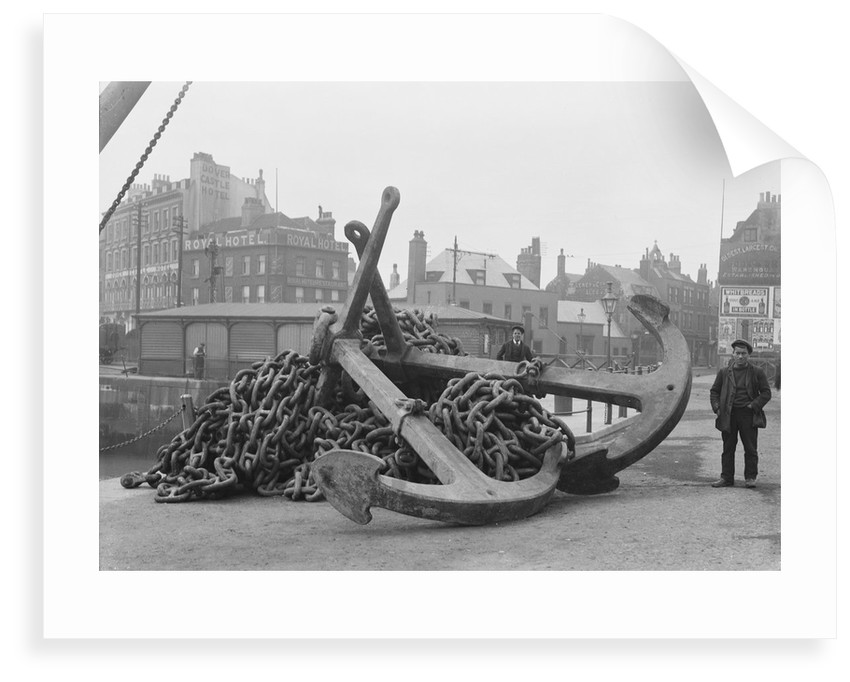 Two anchors and cable from the 'Preussen' (Ge, 1902)  on the quayside at Dover by unknown