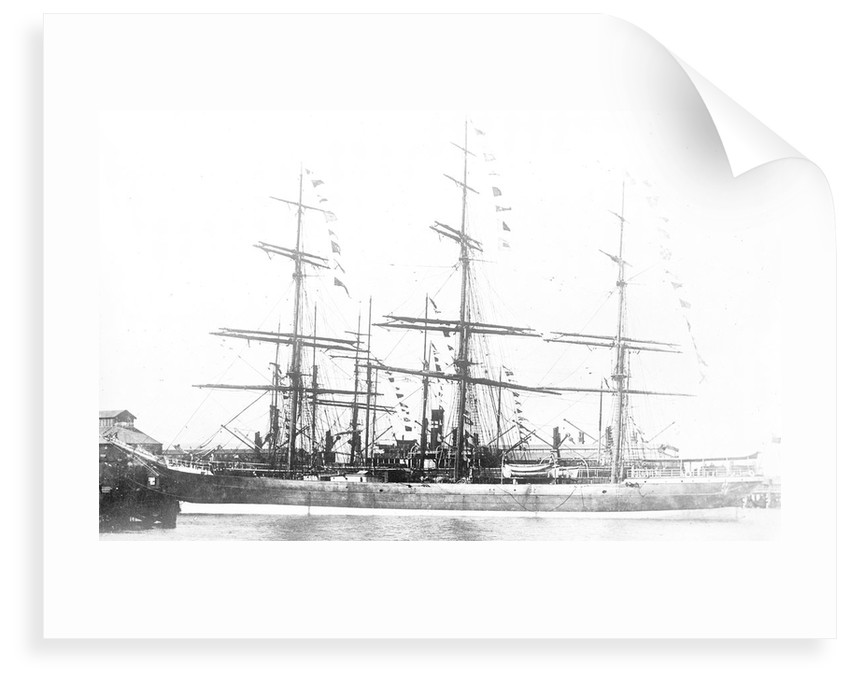 3-masted ship 'Machranish' (Br, 1883), Hugh Hogarth & Sons, at quayside, dressed by unknown