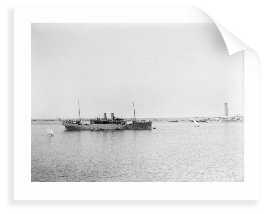 Passenger/cargo liner (British India Steam Nav. Co. Ltd) 'Lunka' (1905) at moorings in Alexandria as an armed boarding steamer, 1915 by unknown
