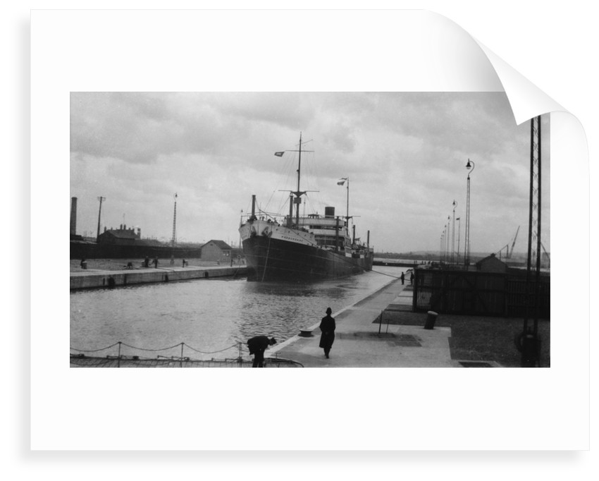 'Radnorshire' (Br, 1919) cargo liner, Royal Mail Steam Packet Co., in King George V Dock lock, London by unknown