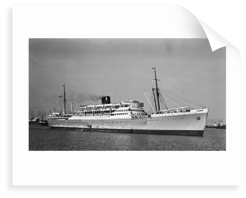 Passenger liner 'Dunnottar Castle' (Br, 1936), Union-Castle Mail S S Co. Ltd, under way at Beira by unknown
