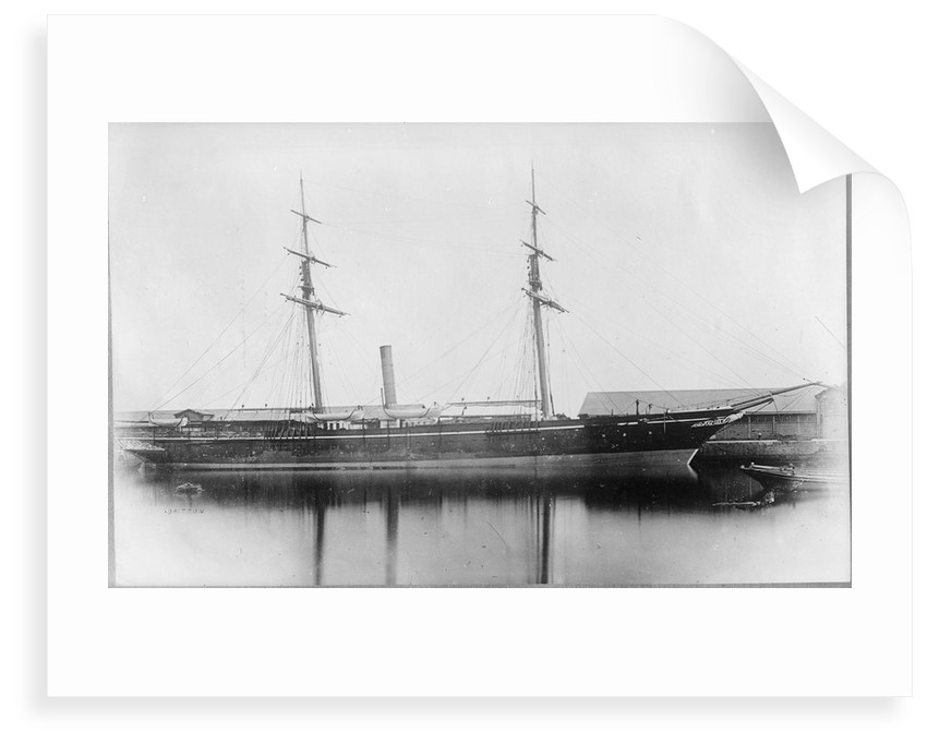 A starboard broadside view of 'Briton' (1861) at quayside in Southampton by unknown