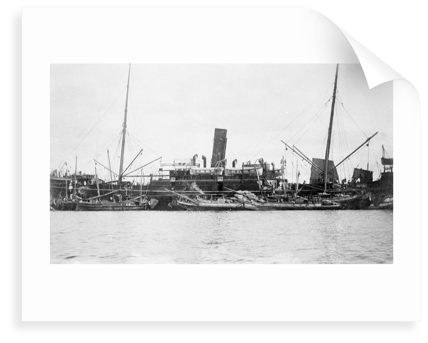 'Sakura Maru' (Ja, 1887) at moorings, junks alongside by unknown