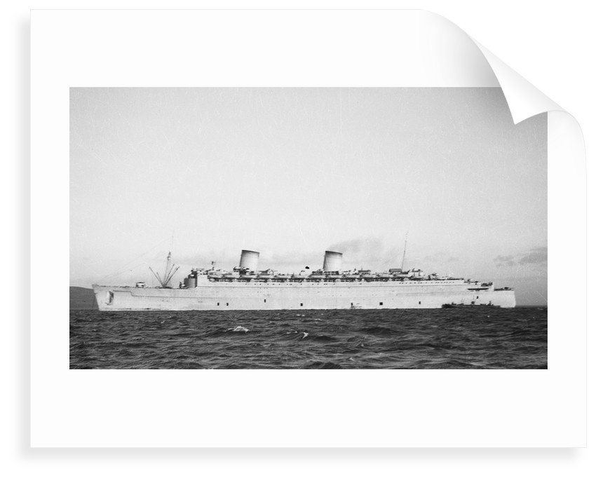 The 'Queen Elizabeth' (Br, 1940) at anchor, possibly in the River Clyde by unknown