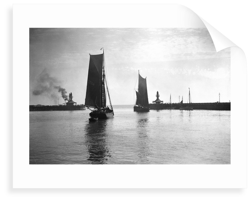 The trawler 'Prospector' (1893) with an unidentified trawler sailing out of the outer harbour at Lowestoft, Suffolk by Smiths Suitall Ltd.