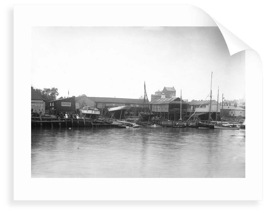 A view of the river frontage of the Harris boatyard taken from the Wivenhoe side of the River Colne by Smiths Suitall Ltd.