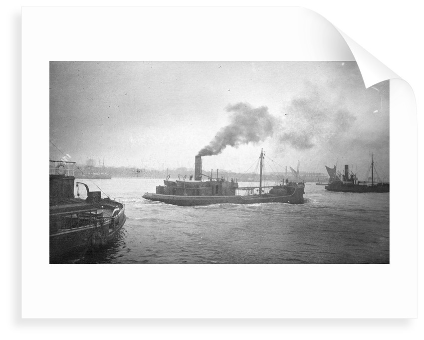 A starboard quarter view of 'Bullfinch' (1903) under way on the River Thames passing Woolwich by unknown