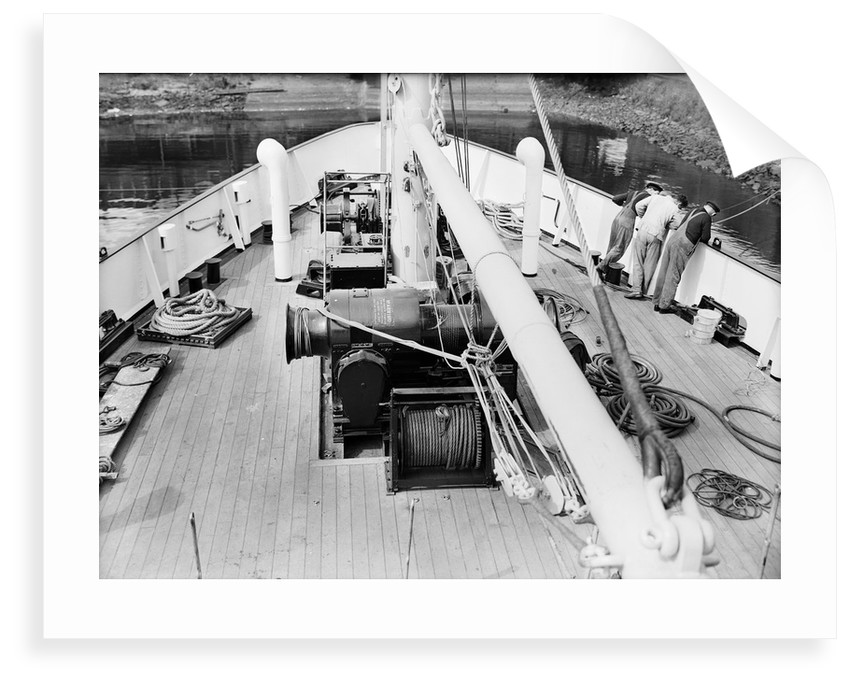 'Claymore' (1955) 14th June, looking down, and forward, on to the foredeck, the cargo winch and the windlass by unknown