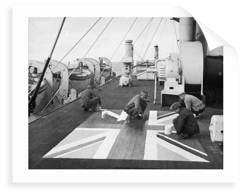 Lascars ' Asian seamen ' painting a Union flag on the deck of the P&O liner 'Chitral' by unknown