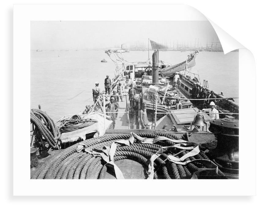 View of deck from foc'sle of Bengal Pilot brig 'Fame' (Br, 1889) by unknown