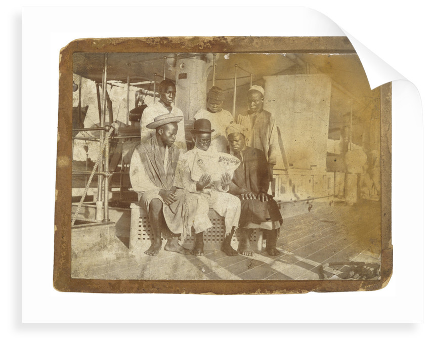 African crewmen aboard paddle-wheel special service vessel HMS 'Sphinx' (1882) by unknown
