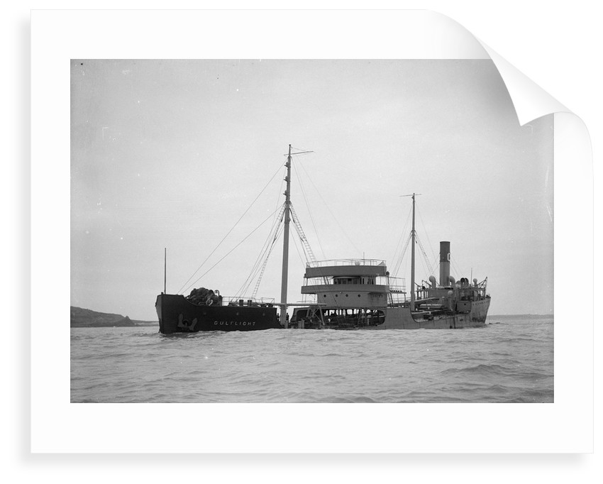 A port bow view of the US tanker 'Gulflight' (1914) after having been torpedoed by Gibson's of Scilly Shipwreck Collection