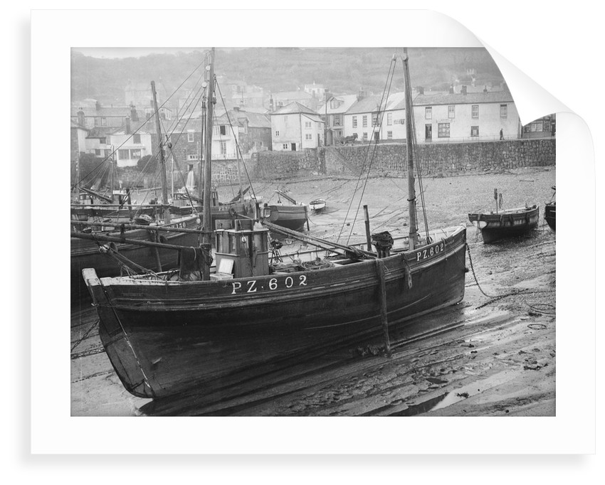 'Boy Willie', Mounts Bay mackerel driver, dried out in Mousehole harbour by unknown