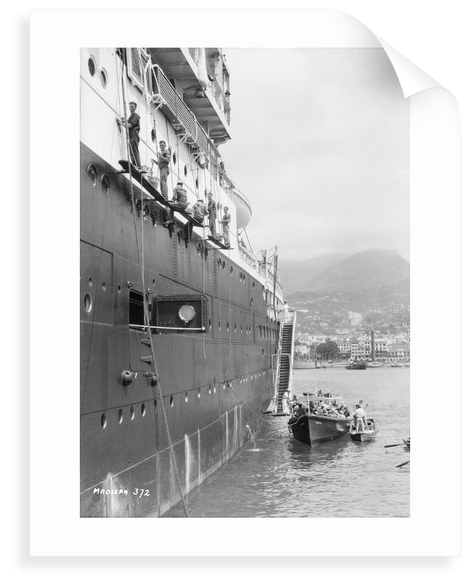 Crews painting the 'Orontes' at Madeira by Marine Photo Service