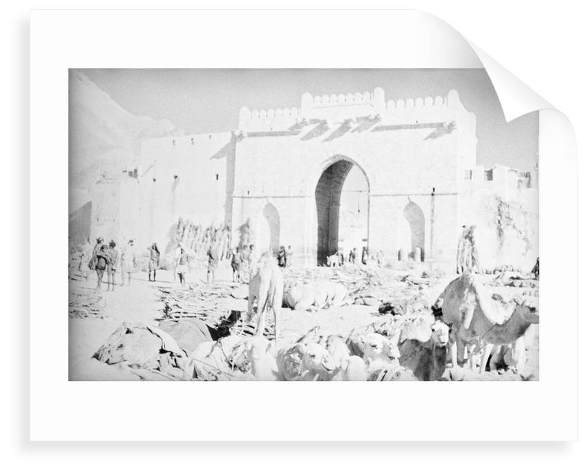 Mukalla West Gate camel park by Alan Villiers