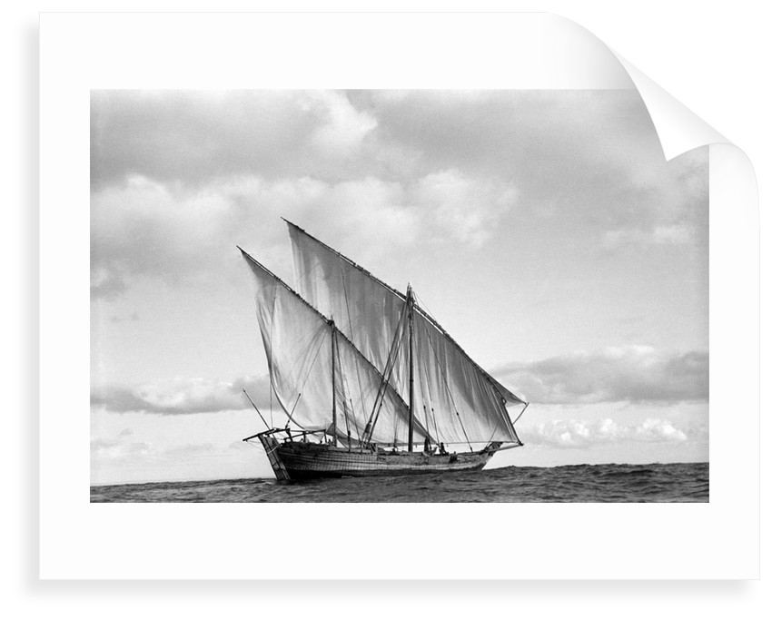 A lightly laden boom sailing towards Rufiji by Alan Villiers