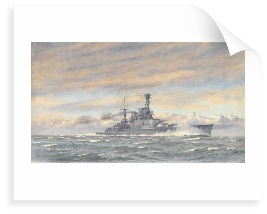 Unidentified battleship at sea by Alma Claude Burlton Cull